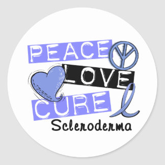 Peace Love Cure Scleroderma Round Sticker