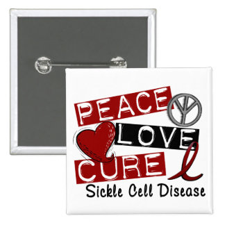 Peace Love Cure Sickle Cell Disease 2 Inch Square Button