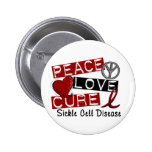 Peace Love Cure Sickle Cell Disease Pinback Button