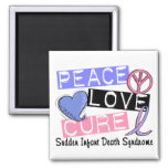 Peace Love Cure SIDS Sudden Infant Death Syndrome 2 Inch Square Magnet