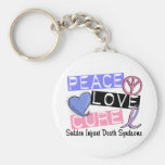 Peace Love Cure SIDS Sudden Infant Death Syndrome Basic Round Button Keychain