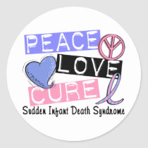 Peace Love Cure SIDS Sudden Infant Death Syndrome Classic Round Sticker
