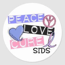 PEACE LOVE CURE SIDS T-Shirts, Gifts, & Apparel Classic Round Sticker