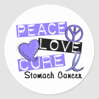 Peace Love Cure Stomach Cancer Round Sticker