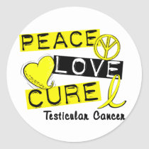 PEACE LOVE CURE Testicular Cancer Classic Round Sticker