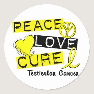 PEACE LOVE CURE Testicular Cancer Classic Round Sticker