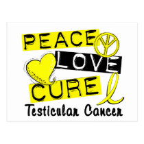 Peace Love Cure Testicular Cancer Postcard