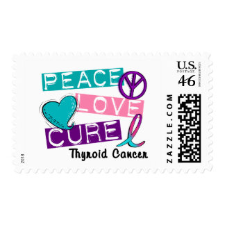 PEACE LOVE CURE Thyroid Cancer 1 Postage Stamp