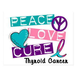 PEACE LOVE CURE Thyroid Cancer 1 Postcard