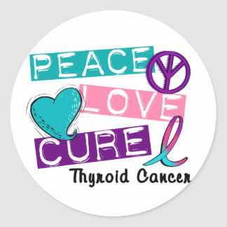 PEACE LOVE CURE Thyroid Cancer Shirts & Gifts Classic Round Sticker