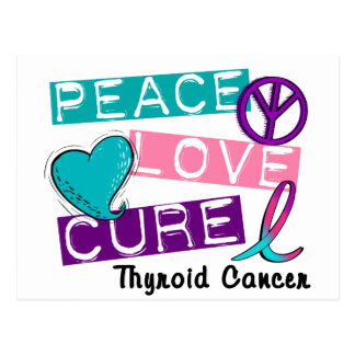 PEACE LOVE CURE Thyroid Cancer Shirts & Gifts Postcards