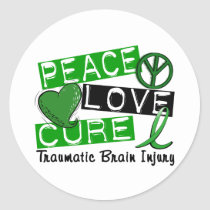 Peace Love Cure Traumatic Brain Injury TBI Classic Round Sticker