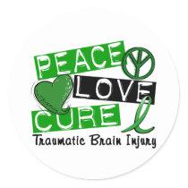 Peace Love Cure Traumatic Brain Injury TBI Classic Round Sticker