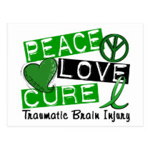 Peace Love Cure Traumatic Brain Injury TBI Postcard