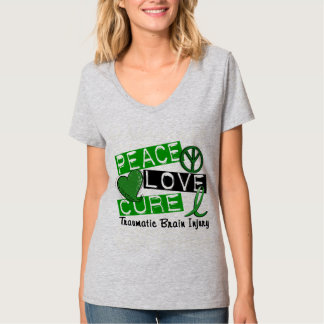 Peace Love Cure Traumatic Brain Injury TBI T-Shirt