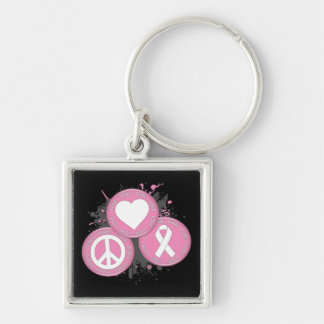 Peace Love Cure Tri-Buttons - Breast Cancer Keychain