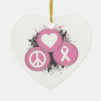 Peace Love Cure Tri-Buttons - Breast Cancer Christmas Ornament