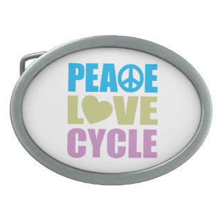 Peace Love Cycle Oval Belt Buckle