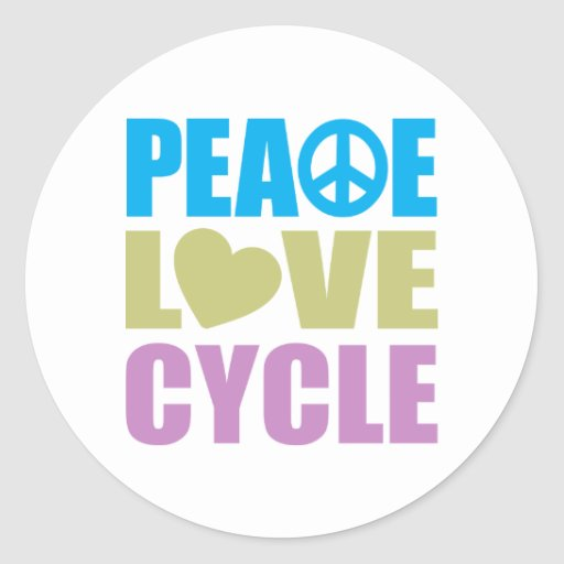 Peace Love Cycle Classic Round Sticker