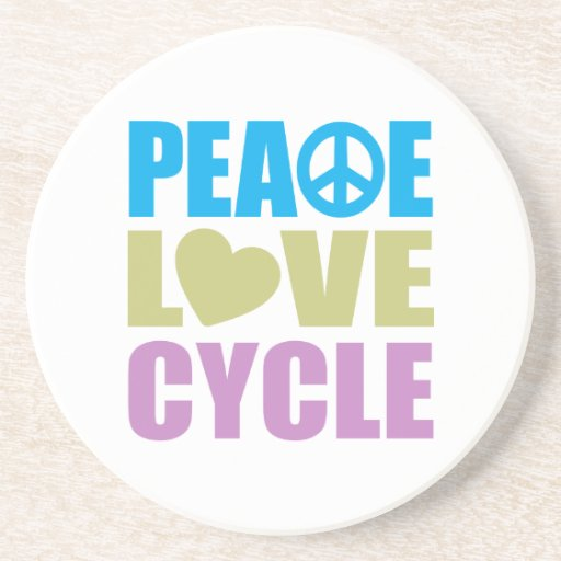 Peace Love Cycle Beverage Coasters