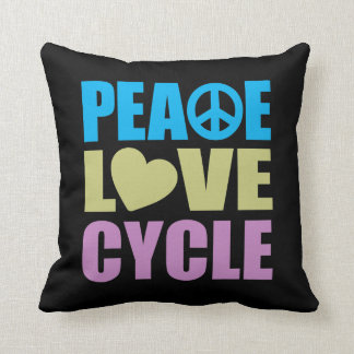 Peace Love Cycle Throw Pillows