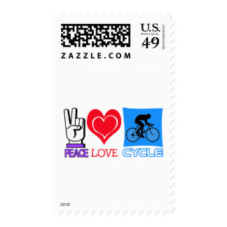 PEACE LOVE CYCLE POSTAGE STAMP