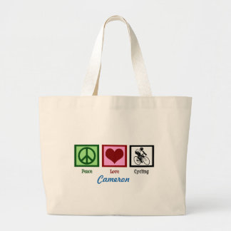 Peace Love Cycling Custom Large Tote Bag