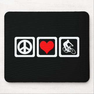 Peace love cycling mouse pad