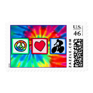 Peace, Love, Cycling Postage Stamps