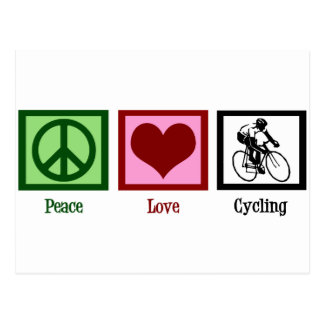 Peace Love Cycling Postcard