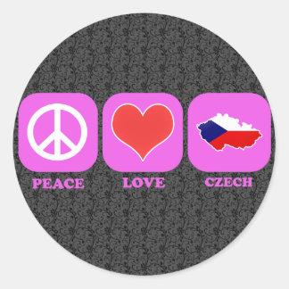 Peace Love Czech Round Stickers