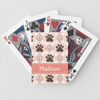 Peace Love Dachshund Bicycle Playing Cards