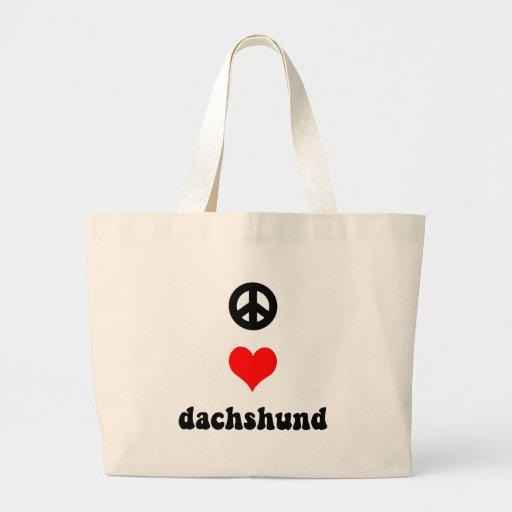 Peace love Dachshund Jumbo Tote Bag