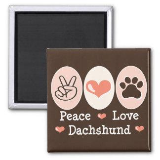 Peace Love Dachshund Magnet
