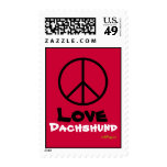 Peace Love Dachshund Red Postage Stamps