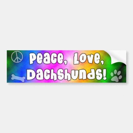 Peace Love Dachshunds Bumper Sticker