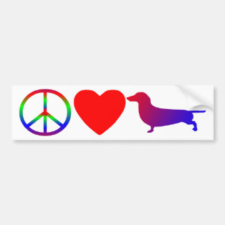 Peace Love Dachshunds Bumper Sticker