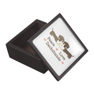 Peace Love Dachshunds Doxies Gift Box Premium Trinket Boxes