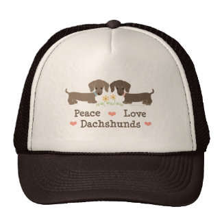 Peace Love Dachshunds Hat