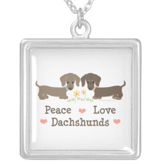 Peace Love Dachshunds Necklace