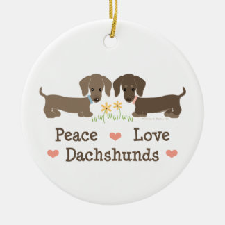 Peace Love Dachshunds Ornament