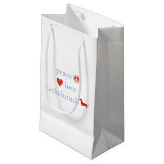 Peace Love Dachshunds Small Gift Bag