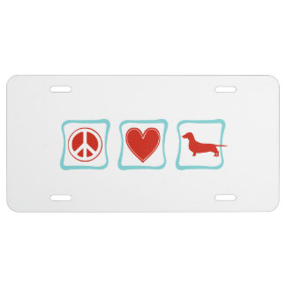 Peace Love Dachshunds Squares License Plate