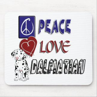 PEACE LOVE DALMATIAN MOUSE PAD