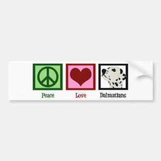 Peace Love Dalmatians Car Bumper Sticker