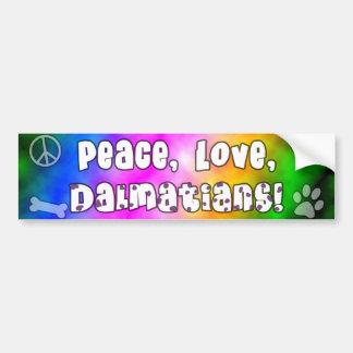 Peace Love Dalmatians Bumper Sticker Car Bumper Sticker