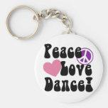 Peace, Love, Dance Basic Round Button Keychain
