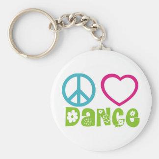 Peace Love Dance Basic Round Button Keychain