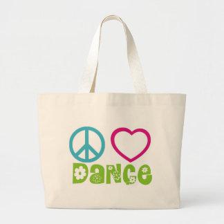 Peace Love Dance Large Tote Bag