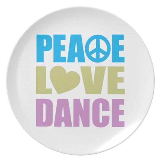 Peace Love Dance Melamine Plate